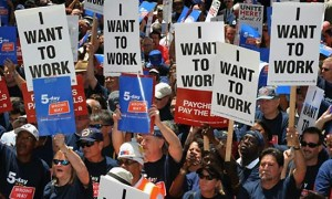 several thousand people demanding job